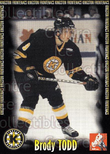 2000-01 Kingston Frontenacs #21 Brody Todd<br/>7 In Stock - $3.00 each - <a href=https://centericecollectibles.foxycart.com/cart?name=2000-01%20Kingston%20Frontenacs%20%2321%20Brody%20Todd...&price=$3.00&code=85619 class=foxycart> Buy it now! </a>