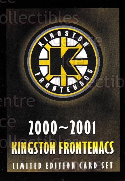 2000-01 Kingston Frontenacs #24 Header Card, Checklist<br/>6 In Stock - $3.00 each - <a href=https://centericecollectibles.foxycart.com/cart?name=2000-01%20Kingston%20Frontenacs%20%2324%20Header%20Card,%20Ch...&price=$3.00&code=85629 class=foxycart> Buy it now! </a>