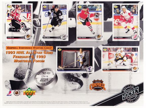 1992-93 Upper Deck Sheets #3 Ed Belfour, Paul Coffey, Chris Chelios, Steve Yzerman, Pavel Bure, Brett Hull<br/>9 In Stock - $10.00 each - <a href=https://centericecollectibles.foxycart.com/cart?name=1992-93%20Upper%20Deck%20Sheets%20%233%20Ed%20Belfour,%20Pau...&price=$10.00&code=8633 class=foxycart> Buy it now! </a>