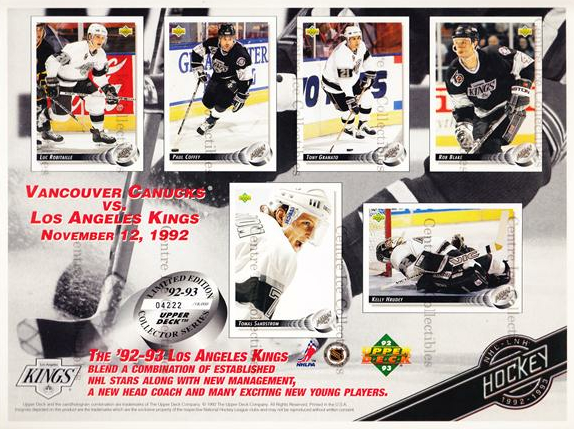 1992-93 Upper Deck Sheets #1 Luc Robitaille, Paul Coffey, Tony Granato, Rob Blake, Tomas Sandstrom, Kelly Hrudey<br/>58 In Stock - $10.00 each - <a href=https://centericecollectibles.foxycart.com/cart?name=1992-93%20Upper%20Deck%20Sheets%20%231%20Luc%20Robitaille,...&quantity_max=58&price=$10.00&code=8635 class=foxycart> Buy it now! </a>