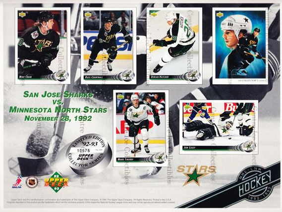 1992-93 Upper Deck Sheets #2 Mike Craig, Russ Courtnall, Derian Hatcher, Mike Modano, Mark Tinordi, Jon Casey<br/>7 In Stock - $10.00 each - <a href=https://centericecollectibles.foxycart.com/cart?name=1992-93%20Upper%20Deck%20Sheets%20%232%20Mike%20Craig,%20Rus...&quantity_max=7&price=$10.00&code=8636 class=foxycart> Buy it now! </a>