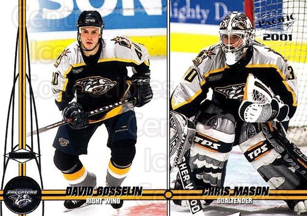 2000-01 Pacific #230 David Gosselin, Chris Mason<br/>1 In Stock - $1.00 each - <a href=https://centericecollectibles.foxycart.com/cart?name=2000-01%20Pacific%20%23230%20David%20Gosselin,...&quantity_max=1&price=$1.00&code=86573 class=foxycart> Buy it now! </a>