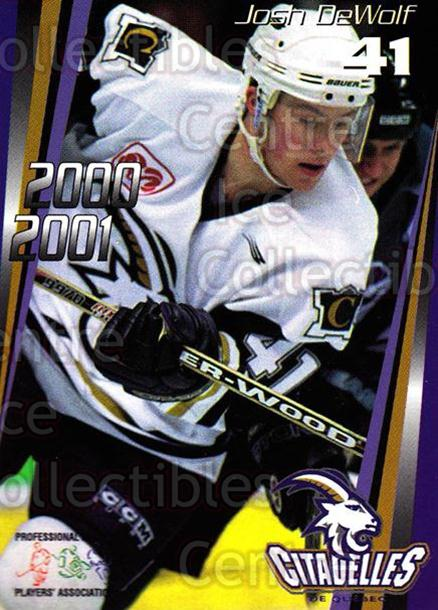 2000-01 Quebec Citadelles #20 Josh DeWolf<br/>3 In Stock - $3.00 each - <a href=https://centericecollectibles.foxycart.com/cart?name=2000-01%20Quebec%20Citadelles%20%2320%20Josh%20DeWolf...&quantity_max=3&price=$3.00&code=87191 class=foxycart> Buy it now! </a>