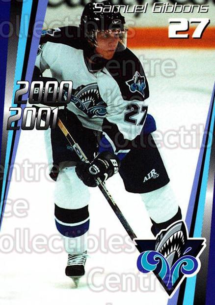 2000-01 Rimouski Oceanic #18 Samuel Gibbons<br/>7 In Stock - $3.00 each - <a href=https://centericecollectibles.foxycart.com/cart?name=2000-01%20Rimouski%20Oceanic%20%2318%20Samuel%20Gibbons...&quantity_max=7&price=$3.00&code=87496 class=foxycart> Buy it now! </a>