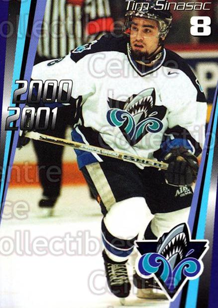 2000-01 Rimouski Oceanic #2 Tim Sinasac<br/>6 In Stock - $3.00 each - <a href=https://centericecollectibles.foxycart.com/cart?name=2000-01%20Rimouski%20Oceanic%20%232%20Tim%20Sinasac...&quantity_max=6&price=$3.00&code=87498 class=foxycart> Buy it now! </a>