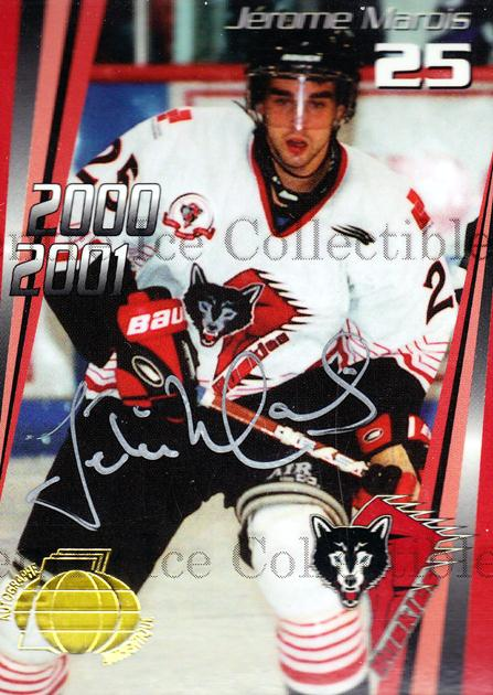 2000-01 Rouyn-Noranda Huskies Autographed #13 Jerome Marois<br/>2 In Stock - $5.00 each - <a href=https://centericecollectibles.foxycart.com/cart?name=2000-01%20Rouyn-Noranda%20Huskies%20Autographed%20%2313%20Jerome%20Marois...&quantity_max=2&price=$5.00&code=87516 class=foxycart> Buy it now! </a>