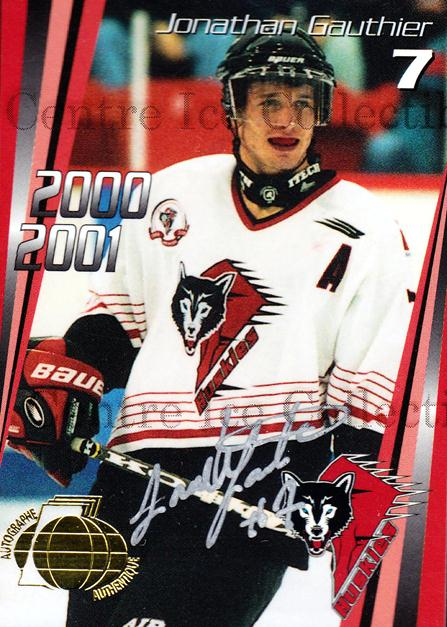 2000-01 Rouyn-Noranda Huskies Autographed #2 Jonathan Gauthier<br/>2 In Stock - $5.00 each - <a href=https://centericecollectibles.foxycart.com/cart?name=2000-01%20Rouyn-Noranda%20Huskies%20Autographed%20%232%20Jonathan%20Gauthi...&quantity_max=2&price=$5.00&code=87523 class=foxycart> Buy it now! </a>