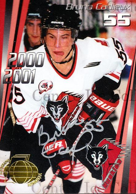 2000-01 Rouyn-Noranda Huskies Autographed #21 Bruno Cadieux<br/>1 In Stock - $5.00 each - <a href=https://centericecollectibles.foxycart.com/cart?name=2000-01%20Rouyn-Noranda%20Huskies%20Autographed%20%2321%20Bruno%20Cadieux...&quantity_max=1&price=$5.00&code=87525 class=foxycart> Buy it now! </a>