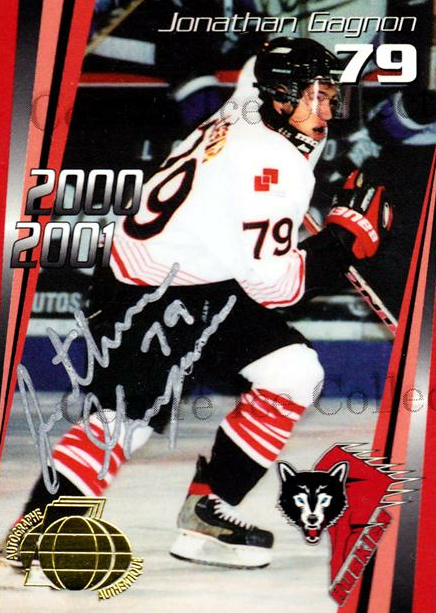 2000-01 Rouyn-Noranda Huskies Autographed #24 Jonathan Gagnon<br/>2 In Stock - $5.00 each - <a href=https://centericecollectibles.foxycart.com/cart?name=2000-01%20Rouyn-Noranda%20Huskies%20Autographed%20%2324%20Jonathan%20Gagnon...&quantity_max=2&price=$5.00&code=87528 class=foxycart> Buy it now! </a>