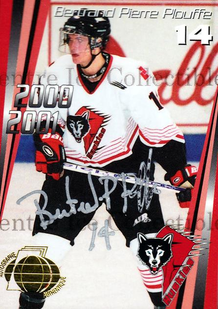 2000-01 Rouyn-Noranda Huskies Autographed #6 Bertrand-Pierre Plouffe<br/>2 In Stock - $5.00 each - <a href=https://centericecollectibles.foxycart.com/cart?name=2000-01%20Rouyn-Noranda%20Huskies%20Autographed%20%236%20Bertrand-Pierre...&quantity_max=2&price=$5.00&code=87534 class=foxycart> Buy it now! </a>