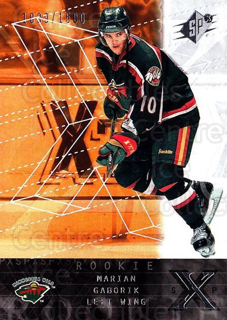 2000-01 SPx #163 Marian Gaborik<br/>1 In Stock - $10.00 each - <a href=https://centericecollectibles.foxycart.com/cart?name=2000-01%20SPx%20%23163%20Marian%20Gaborik...&quantity_max=1&price=$10.00&code=88063 class=foxycart> Buy it now! </a>