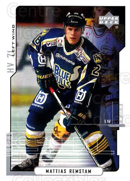 2000-01 Swedish Upper Deck #104 Mattias Remstam<br/>10 In Stock - $2.00 each - <a href=https://centericecollectibles.foxycart.com/cart?name=2000-01%20Swedish%20Upper%20Deck%20%23104%20Mattias%20Remstam...&price=$2.00&code=88398 class=foxycart> Buy it now! </a>
