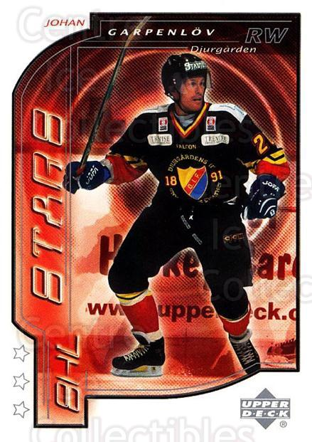 2000-01 Swedish Upper Deck #189 Johan Garpenlov<br/>7 In Stock - $2.00 each - <a href=https://centericecollectibles.foxycart.com/cart?name=2000-01%20Swedish%20Upper%20Deck%20%23189%20Johan%20Garpenlov...&price=$2.00&code=88476 class=foxycart> Buy it now! </a>