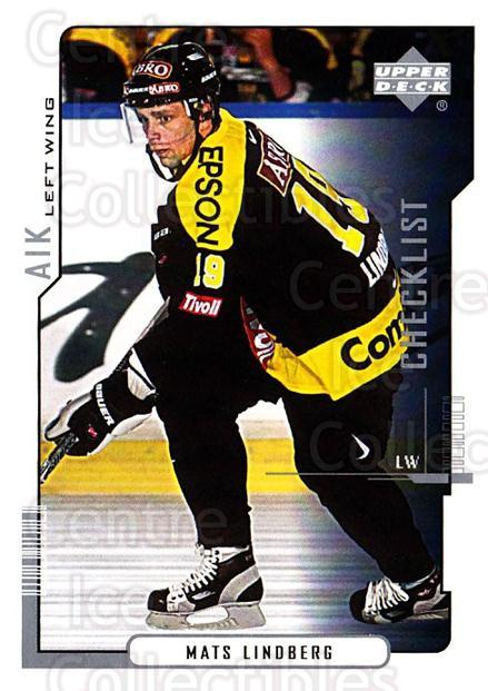 2000-01 Swedish Upper Deck #209 Mats Lindberg, Checklist<br/>6 In Stock - $2.00 each - <a href=https://centericecollectibles.foxycart.com/cart?name=2000-01%20Swedish%20Upper%20Deck%20%23209%20Mats%20Lindberg,%20...&quantity_max=6&price=$2.00&code=88494 class=foxycart> Buy it now! </a>