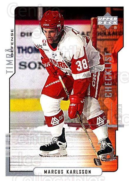2000-01 Swedish Upper Deck #220 Marcus Karlsson, Checklist<br/>6 In Stock - $2.00 each - <a href=https://centericecollectibles.foxycart.com/cart?name=2000-01%20Swedish%20Upper%20Deck%20%23220%20Marcus%20Karlsson...&quantity_max=6&price=$2.00&code=88504 class=foxycart> Buy it now! </a>