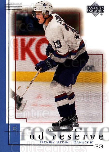 2000-01 UD Reserve #85 Henrik Sedin<br/>5 In Stock - $1.00 each - <a href=https://centericecollectibles.foxycart.com/cart?name=2000-01%20UD%20Reserve%20%2385%20Henrik%20Sedin...&quantity_max=5&price=$1.00&code=90219 class=foxycart> Buy it now! </a>