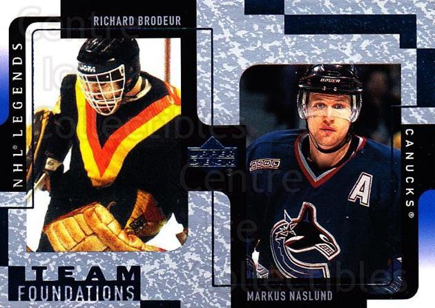 2000-01 Upper Deck Legends #128 Richard Brodeur, Markus Naslund<br/>9 In Stock - $1.00 each - <a href=https://centericecollectibles.foxycart.com/cart?name=2000-01%20Upper%20Deck%20Legends%20%23128%20Richard%20Brodeur...&quantity_max=9&price=$1.00&code=90590 class=foxycart> Buy it now! </a>