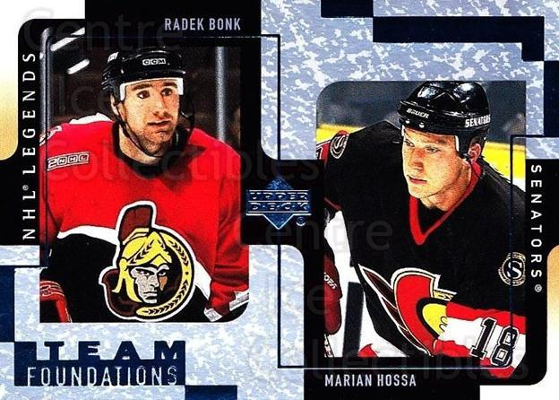2000-01 Upper Deck Legends #95 Radek Bonk, Marian Hossa<br/>6 In Stock - $1.00 each - <a href=https://centericecollectibles.foxycart.com/cart?name=2000-01%20Upper%20Deck%20Legends%20%2395%20Radek%20Bonk,%20Mar...&quantity_max=6&price=$1.00&code=90673 class=foxycart> Buy it now! </a>