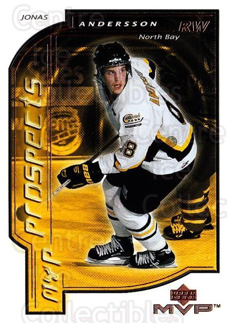 2000-01 Upper Deck MVP #216 Jonas Andersson<br/>4 In Stock - $1.00 each - <a href=https://centericecollectibles.foxycart.com/cart?name=2000-01%20Upper%20Deck%20MVP%20%23216%20Jonas%20Andersson...&price=$1.00&code=91007 class=foxycart> Buy it now! </a>