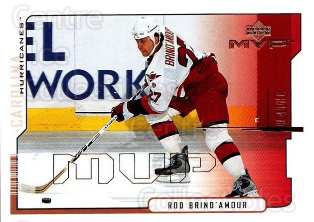 2000-01 Upper Deck MVP #38 Rod Brind'Amour<br/>3 In Stock - $1.00 each - <a href=https://centericecollectibles.foxycart.com/cart?name=2000-01%20Upper%20Deck%20MVP%20%2338%20Rod%20Brind'Amour...&quantity_max=3&price=$1.00&code=91027 class=foxycart> Buy it now! </a>