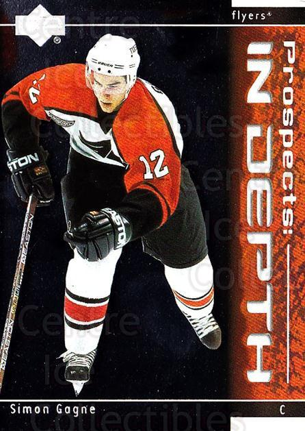 2000-01 Upper Deck Prospects In Depth #8 Simon Gagne<br/>5 In Stock - $2.00 each - <a href=https://centericecollectibles.foxycart.com/cart?name=2000-01%20Upper%20Deck%20Prospects%20In%20Depth%20%238%20Simon%20Gagne...&quantity_max=5&price=$2.00&code=91048 class=foxycart> Buy it now! </a>