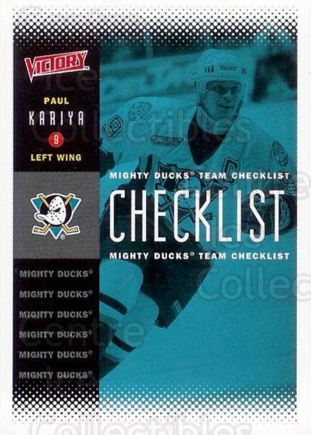 2000-01 UD Victory #1 Paul Kariya, Checklist<br/>1 In Stock - $1.00 each - <a href=https://centericecollectibles.foxycart.com/cart?name=2000-01%20UD%20Victory%20%231%20Paul%20Kariya,%20Ch...&quantity_max=1&price=$1.00&code=91074 class=foxycart> Buy it now! </a>