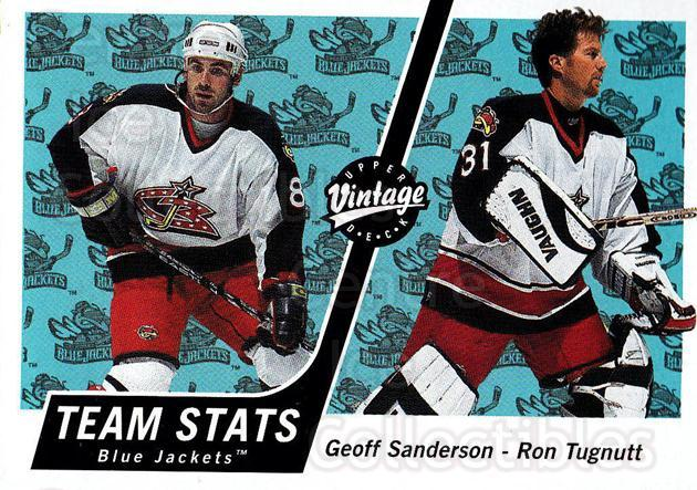 2000-01 UD Vintage #111 Geoff Sanderson, Ron Tugnutt<br/>6 In Stock - $1.00 each - <a href=https://centericecollectibles.foxycart.com/cart?name=2000-01%20UD%20Vintage%20%23111%20Geoff%20Sanderson...&quantity_max=6&price=$1.00&code=91263 class=foxycart> Buy it now! </a>