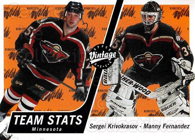 2000-01 UD Vintage #185 Sergei Krivokrasov, Manny Fernandez<br/>4 In Stock - $1.00 each - <a href=https://centericecollectibles.foxycart.com/cart?name=2000-01%20UD%20Vintage%20%23185%20Sergei%20Krivokra...&quantity_max=4&price=$1.00&code=91337 class=foxycart> Buy it now! </a>
