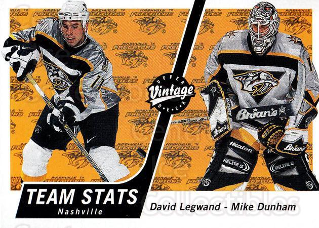 2000-01 UD Vintage #209 David Legwand, Mike Dunham<br/>8 In Stock - $1.00 each - <a href=https://centericecollectibles.foxycart.com/cart?name=2000-01%20UD%20Vintage%20%23209%20David%20Legwand,%20...&quantity_max=8&price=$1.00&code=91363 class=foxycart> Buy it now! </a>