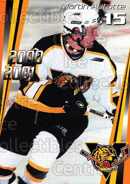 2000-01 Victoriaville Tigres #5 Martin Autotte<br/>5 In Stock - $3.00 each - <a href=https://centericecollectibles.foxycart.com/cart?name=2000-01%20Victoriaville%20Tigres%20%235%20Martin%20Autotte...&quantity_max=5&price=$3.00&code=91688 class=foxycart> Buy it now! </a>