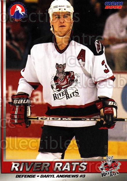2001-02 Albany River Rats #5 Daryl Andrews<br/>8 In Stock - $3.00 each - <a href=https://centericecollectibles.foxycart.com/cart?name=2001-02%20Albany%20River%20Rats%20%235%20Daryl%20Andrews...&quantity_max=8&price=$3.00&code=91778 class=foxycart> Buy it now! </a>