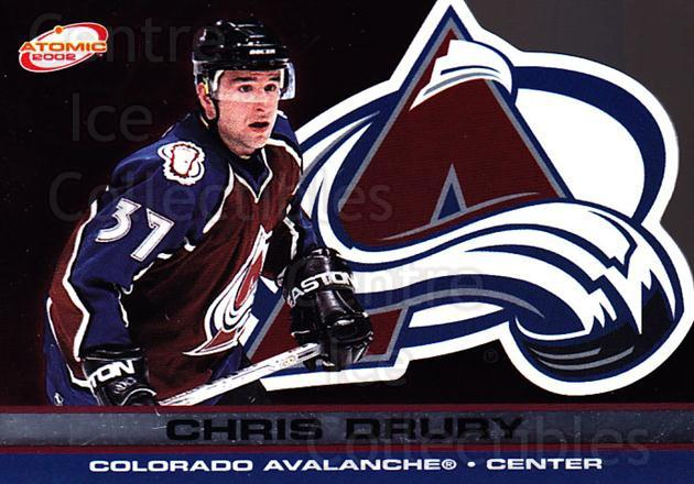 2001-02 Atomic #23 Chris Drury<br/>7 In Stock - $1.00 each - <a href=https://centericecollectibles.foxycart.com/cart?name=2001-02%20Atomic%20%2323%20Chris%20Drury...&quantity_max=7&price=$1.00&code=91799 class=foxycart> Buy it now! </a>