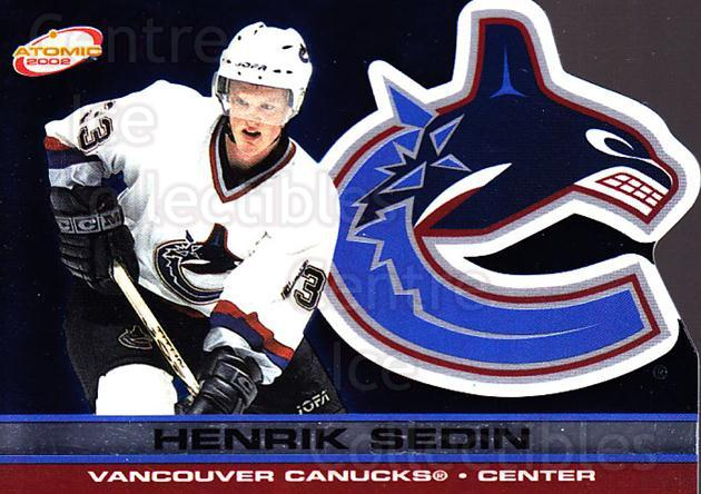 2001-02 Atomic #96 Henrik Sedin<br/>11 In Stock - $1.00 each - <a href=https://centericecollectibles.foxycart.com/cart?name=2001-02%20Atomic%20%2396%20Henrik%20Sedin...&quantity_max=11&price=$1.00&code=91869 class=foxycart> Buy it now! </a>
