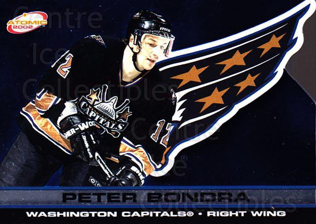 2001-02 Atomic #97 Peter Bondra<br/>10 In Stock - $1.00 each - <a href=https://centericecollectibles.foxycart.com/cart?name=2001-02%20Atomic%20%2397%20Peter%20Bondra...&quantity_max=10&price=$1.00&code=91870 class=foxycart> Buy it now! </a>
