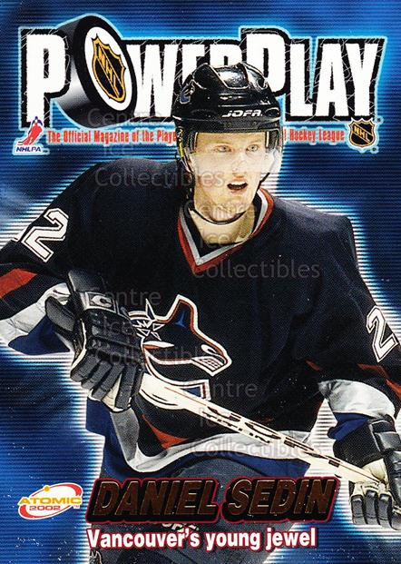 2001-02 Atomic Power Play #33 Daniel Sedin<br/>9 In Stock - $2.00 each - <a href=https://centericecollectibles.foxycart.com/cart?name=2001-02%20Atomic%20Power%20Play%20%2333%20Daniel%20Sedin...&price=$2.00&code=91903 class=foxycart> Buy it now! </a>