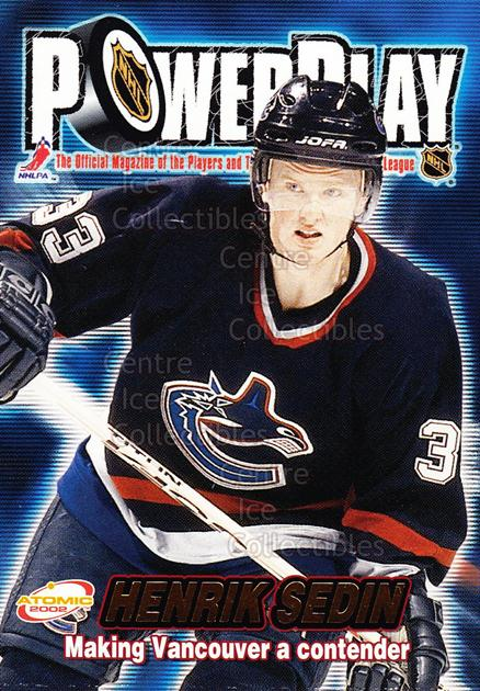 2001-02 Atomic Power Play #34 Henrik Sedin<br/>15 In Stock - $1.00 each - <a href=https://centericecollectibles.foxycart.com/cart?name=2001-02%20Atomic%20Power%20Play%20%2334%20Henrik%20Sedin...&quantity_max=15&price=$1.00&code=91904 class=foxycart> Buy it now! </a>