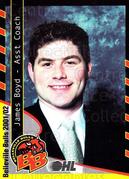 2001-02 Belleville Bulls #2 James Boyd<br/>1 In Stock - $3.00 each - <a href=https://centericecollectibles.foxycart.com/cart?name=2001-02%20Belleville%20Bulls%20%232%20James%20Boyd...&price=$3.00&code=92560 class=foxycart> Buy it now! </a>