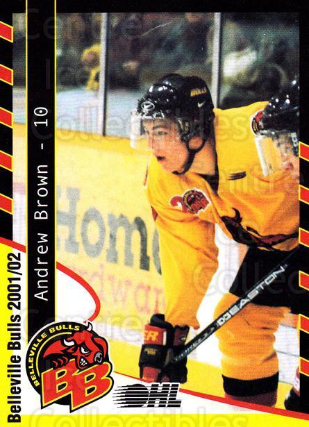 2001-02 Belleville Bulls #3 Andrew Brown<br/>1 In Stock - $3.00 each - <a href=https://centericecollectibles.foxycart.com/cart?name=2001-02%20Belleville%20Bulls%20%233%20Andrew%20Brown...&price=$3.00&code=92568 class=foxycart> Buy it now! </a>