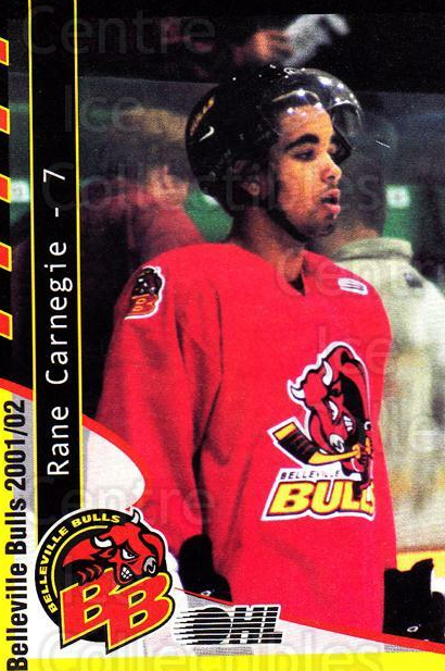 2001-02 Belleville Bulls #4 Rane Carnegie<br/>4 In Stock - $3.00 each - <a href=https://centericecollectibles.foxycart.com/cart?name=2001-02%20Belleville%20Bulls%20%234%20Rane%20Carnegie...&quantity_max=4&price=$3.00&code=92569 class=foxycart> Buy it now! </a>