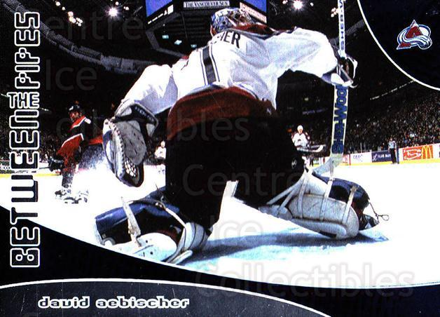 2001-02 Between the Pipes #164 David Aebischer<br/>3 In Stock - $3.00 each - <a href=https://centericecollectibles.foxycart.com/cart?name=2001-02%20Between%20the%20Pipes%20%23164%20David%20Aebischer...&quantity_max=3&price=$3.00&code=92654 class=foxycart> Buy it now! </a>
