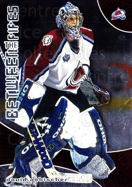 2001-02 Between the Pipes #23 David Aebischer<br/>7 In Stock - $1.00 each - <a href=https://centericecollectibles.foxycart.com/cart?name=2001-02%20Between%20the%20Pipes%20%2323%20David%20Aebischer...&quantity_max=7&price=$1.00&code=92663 class=foxycart> Buy it now! </a>