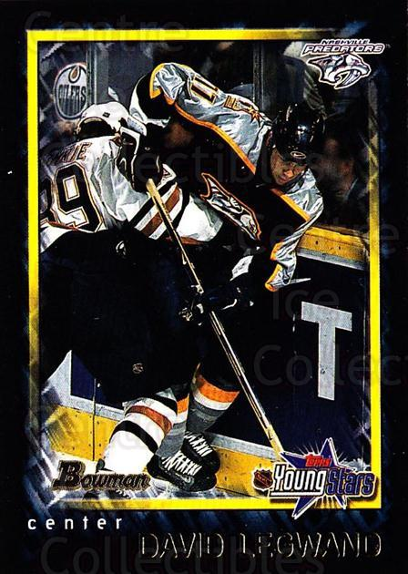 2001-02 Bowman YoungStars #160 David Legwand<br/>10 In Stock - $1.00 each - <a href=https://centericecollectibles.foxycart.com/cart?name=2001-02%20Bowman%20YoungStars%20%23160%20David%20Legwand...&quantity_max=10&price=$1.00&code=92937 class=foxycart> Buy it now! </a>