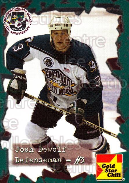 2001-02 Cincinnati Mighty Ducks #14 Josh DeWolf<br/>4 In Stock - $3.00 each - <a href=https://centericecollectibles.foxycart.com/cart?name=2001-02%20Cincinnati%20Mighty%20Ducks%20%2314%20Josh%20DeWolf...&quantity_max=4&price=$3.00&code=93077 class=foxycart> Buy it now! </a>