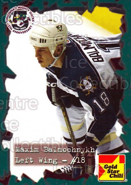 2001-02 Cincinnati Mighty Ducks #2 Maxim Balmochnyk<br/>2 In Stock - $3.00 each - <a href=https://centericecollectibles.foxycart.com/cart?name=2001-02%20Cincinnati%20Mighty%20Ducks%20%232%20Maxim%20Balmochny...&quantity_max=2&price=$3.00&code=93079 class=foxycart> Buy it now! </a>