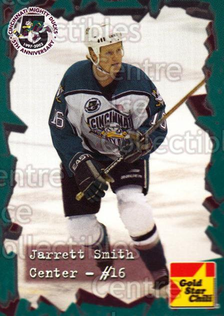 2001-02 Cincinnati Mighty Ducks #18 Jarrett Smith<br/>3 In Stock - $3.00 each - <a href=https://centericecollectibles.foxycart.com/cart?name=2001-02%20Cincinnati%20Mighty%20Ducks%20%2318%20Jarrett%20Smith...&quantity_max=3&price=$3.00&code=93082 class=foxycart> Buy it now! </a>