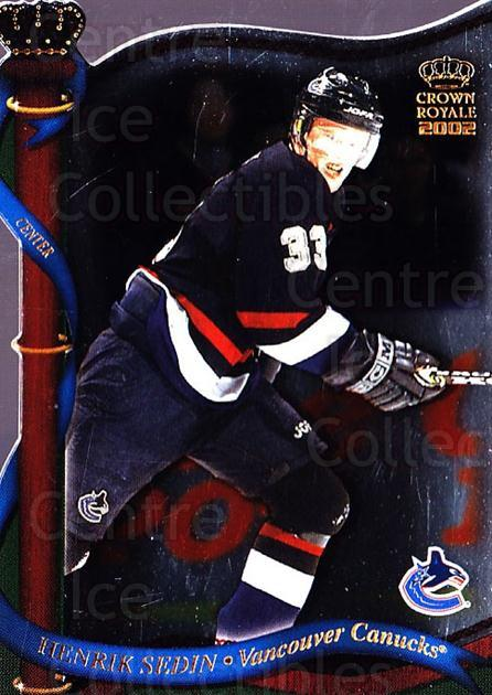 2001-02 Crown Royale #140 Henrik Sedin<br/>6 In Stock - $1.00 each - <a href=https://centericecollectibles.foxycart.com/cart?name=2001-02%20Crown%20Royale%20%23140%20Henrik%20Sedin...&quantity_max=6&price=$1.00&code=93285 class=foxycart> Buy it now! </a>