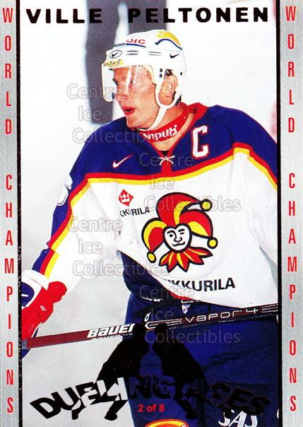 2001-02 Finnish Cardset Dueling Aces #2 Ville Peltonen, Janne Ojanen<br/>2 In Stock - $3.00 each - <a href=https://centericecollectibles.foxycart.com/cart?name=2001-02%20Finnish%20Cardset%20Dueling%20Aces%20%232%20Ville%20Peltonen,...&price=$3.00&code=93648 class=foxycart> Buy it now! </a>