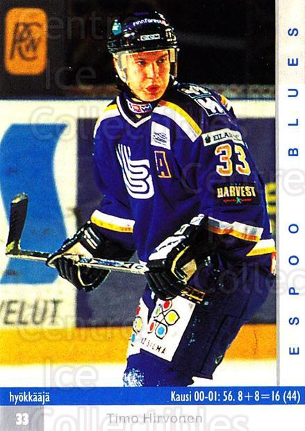 2001-02 Finnish Cardset #10 Timo Hirvonen<br/>8 In Stock - $2.00 each - <a href=https://centericecollectibles.foxycart.com/cart?name=2001-02%20Finnish%20Cardset%20%2310%20Timo%20Hirvonen...&quantity_max=8&price=$2.00&code=93663 class=foxycart> Buy it now! </a>
