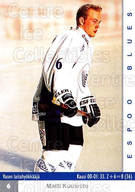 2001-02 Finnish Cardset #184 Matti Kuusisto<br/>8 In Stock - $2.00 each - <a href=https://centericecollectibles.foxycart.com/cart?name=2001-02%20Finnish%20Cardset%20%23184%20Matti%20Kuusisto...&quantity_max=8&price=$2.00&code=93750 class=foxycart> Buy it now! </a>
