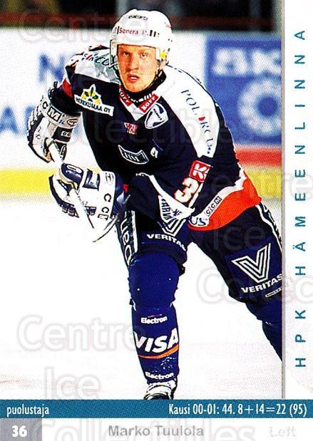2001-02 Finnish Cardset #219 Marko Tuulola<br/>7 In Stock - $2.00 each - <a href=https://centericecollectibles.foxycart.com/cart?name=2001-02%20Finnish%20Cardset%20%23219%20Marko%20Tuulola...&quantity_max=7&price=$2.00&code=93786 class=foxycart> Buy it now! </a>